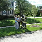 firefighter and family